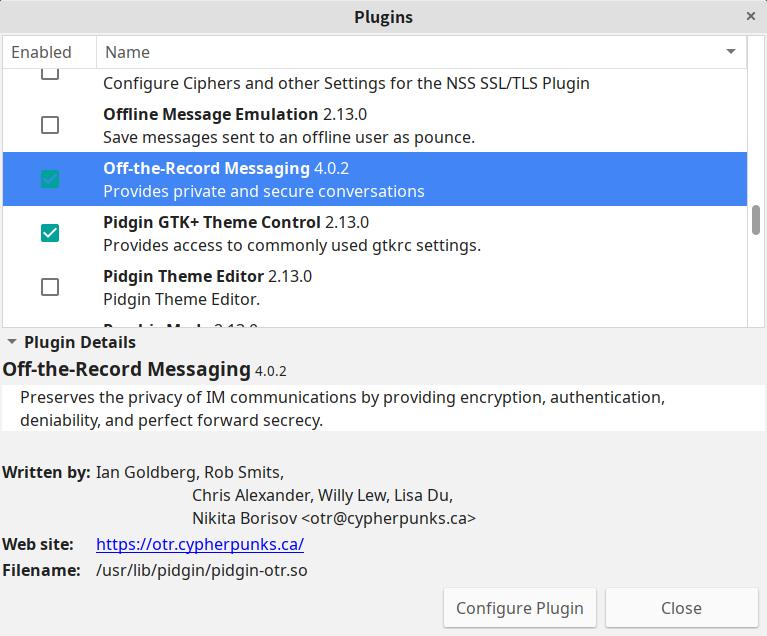 Pidgin 通过插件可以支持 OTR